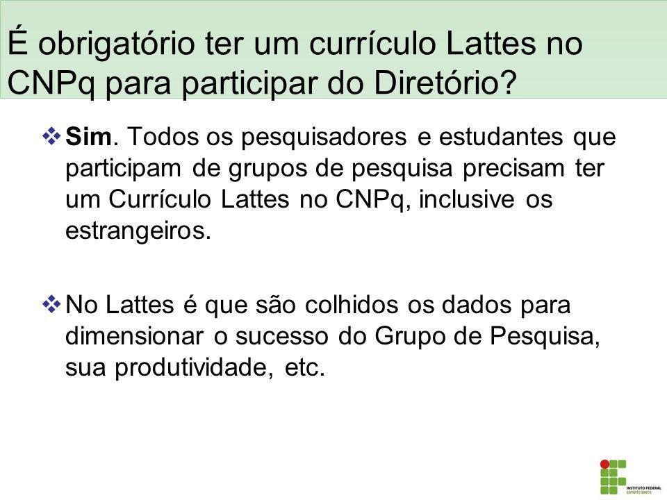 É obrigatório ter um currículo Lattes no CNPq para participar do Diretório