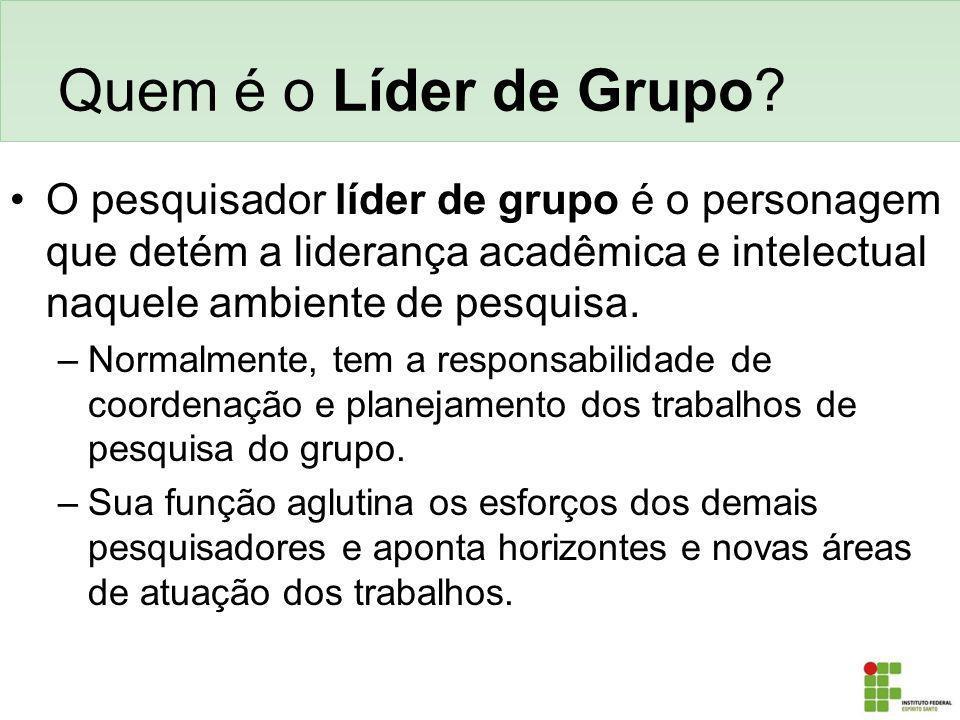 Quem é o Líder de Grupo O pesquisador líder de grupo é o personagem que detém a liderança acadêmica e intelectual naquele ambiente de pesquisa.