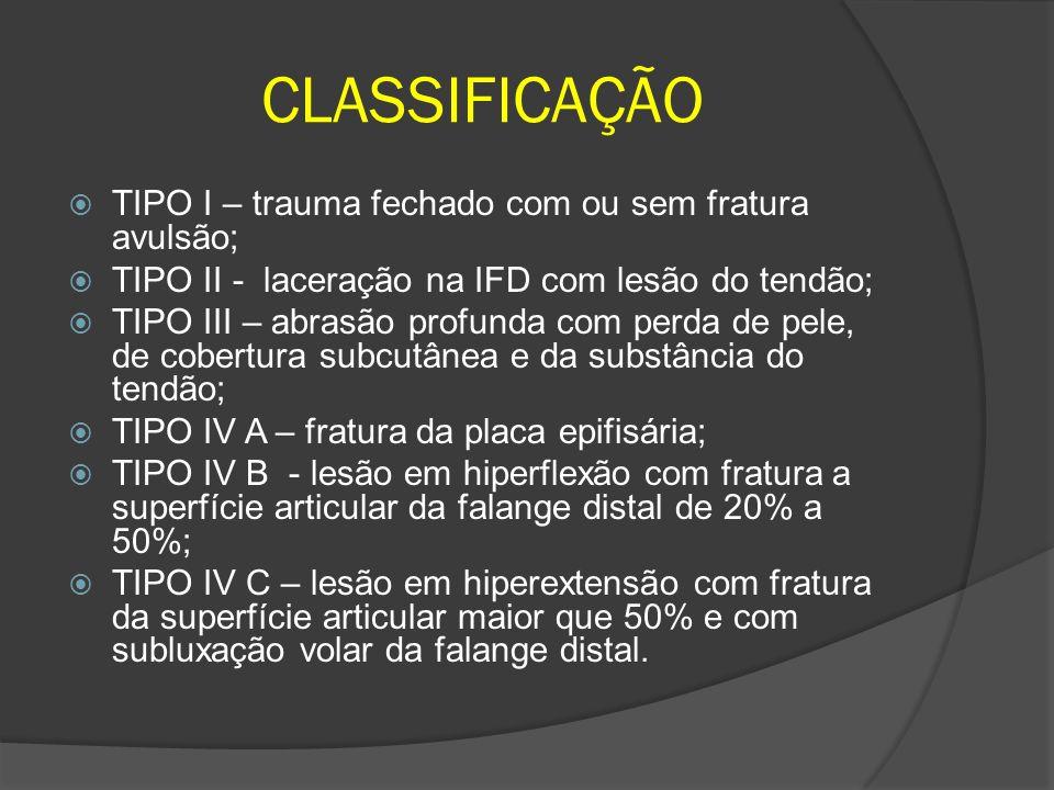 CLASSIFICAÇÃO TIPO I – trauma fechado com ou sem fratura avulsão;
