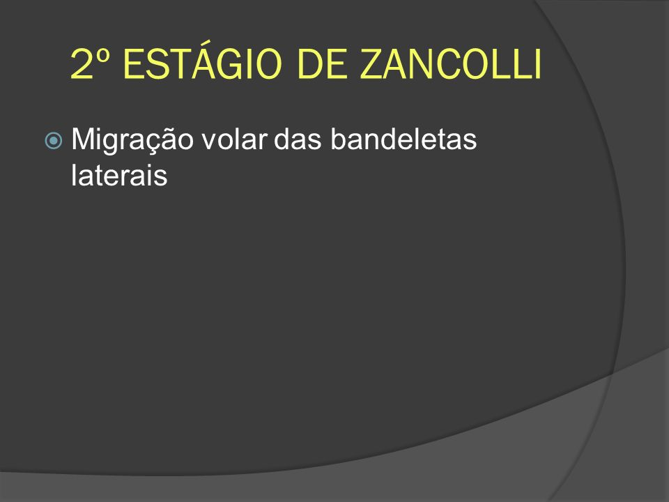 2º ESTÁGIO DE ZANCOLLI Migração volar das bandeletas laterais