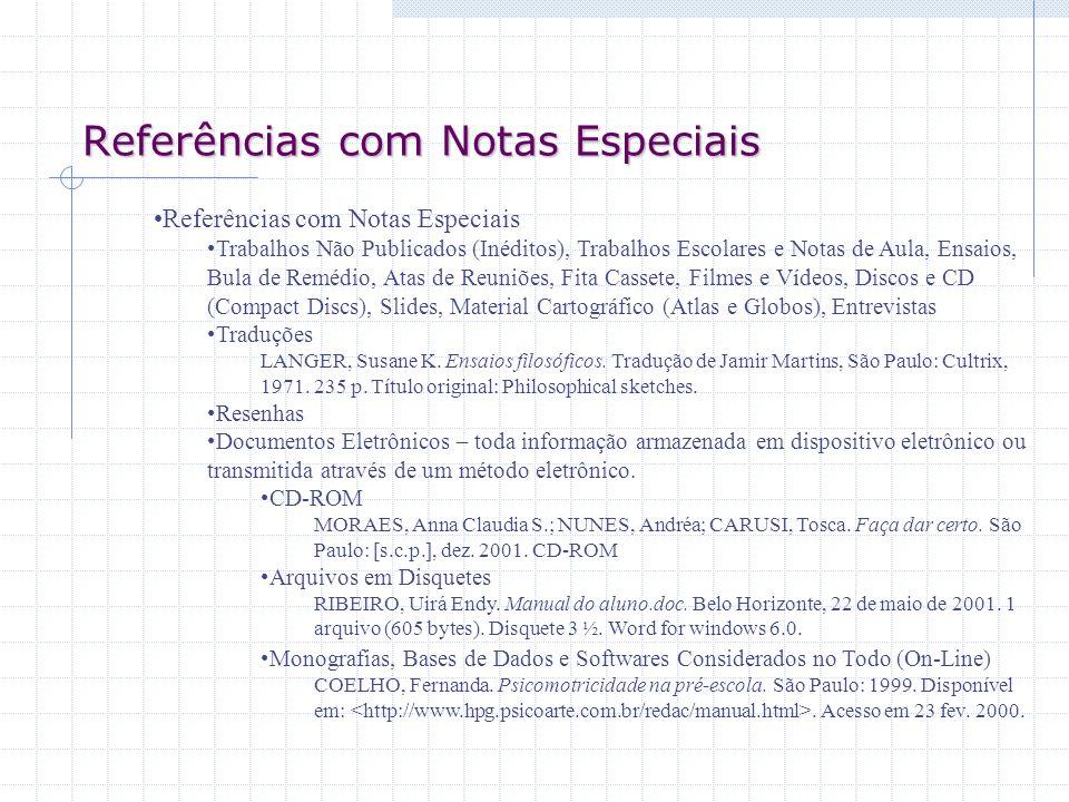 Referências com Notas Especiais