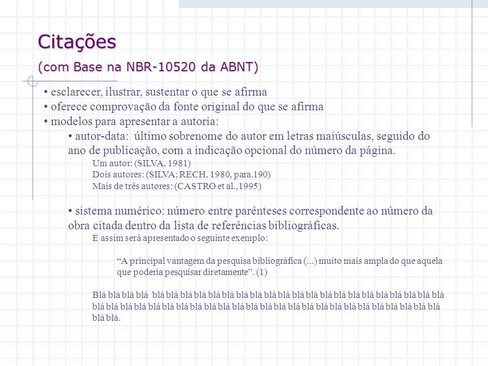 Citações (com Base na NBR-10520 da ABNT)