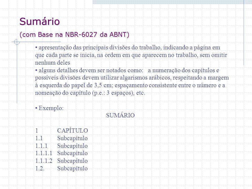 Sumário (com Base na NBR-6027 da ABNT)