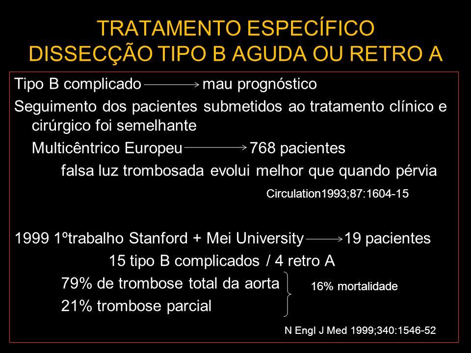 TRATAMENTO ESPECÍFICO DISSECÇÃO TIPO B AGUDA OU RETRO A