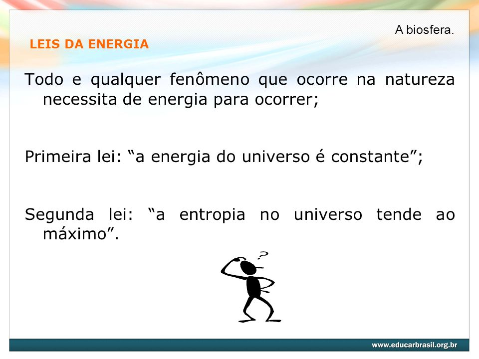 Primeira lei: a energia do universo é constante ;