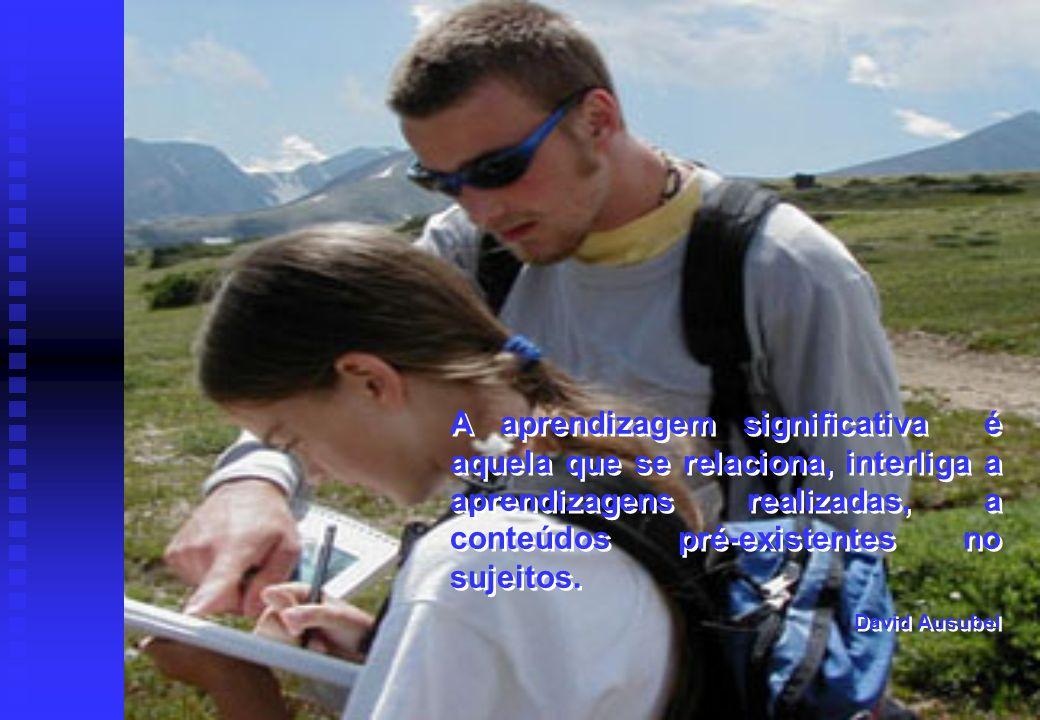 A aprendizagem significativa é aquela que se relaciona, interliga a aprendizagens realizadas, a conteúdos pré-existentes no sujeitos.