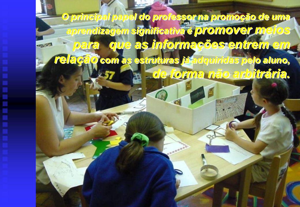 O principal papel do professor na promoção de uma aprendizagem significativa é promover meios para que as informações entrem em relação com as estruturas já adquiridas pelo aluno, de forma não arbitrária.