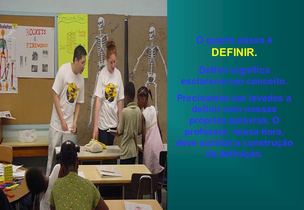 O quarto passo é DEFINIR. Definir significa esclarecer um conceito.