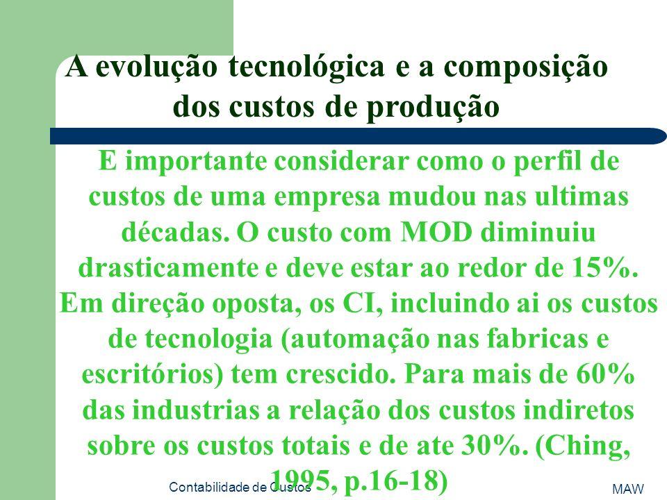 A evolução tecnológica e a composição dos custos de produção