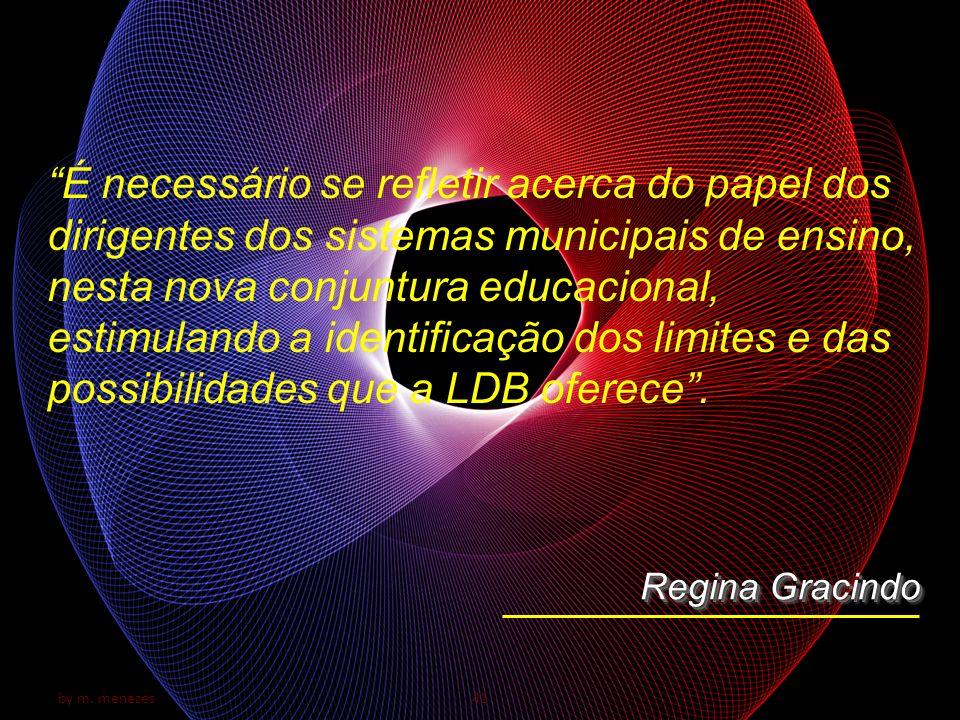 É necessário se refletir acerca do papel dos dirigentes dos sistemas municipais de ensino, nesta nova conjuntura educacional, estimulando a identificação dos limites e das possibilidades que a LDB oferece .