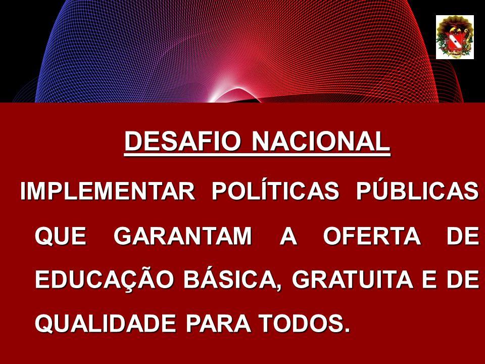DESAFIO NACIONALIMPLEMENTAR POLÍTICAS PÚBLICAS QUE GARANTAM A OFERTA DE EDUCAÇÃO BÁSICA, GRATUITA E DE QUALIDADE PARA TODOS.