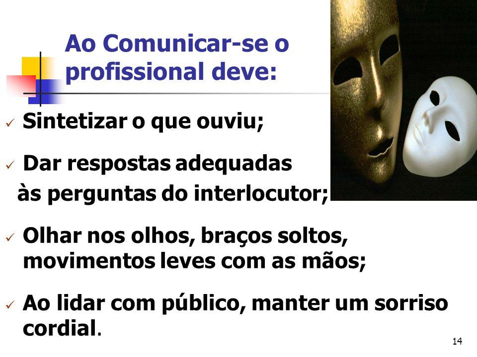 Ao Comunicar-se o profissional deve: