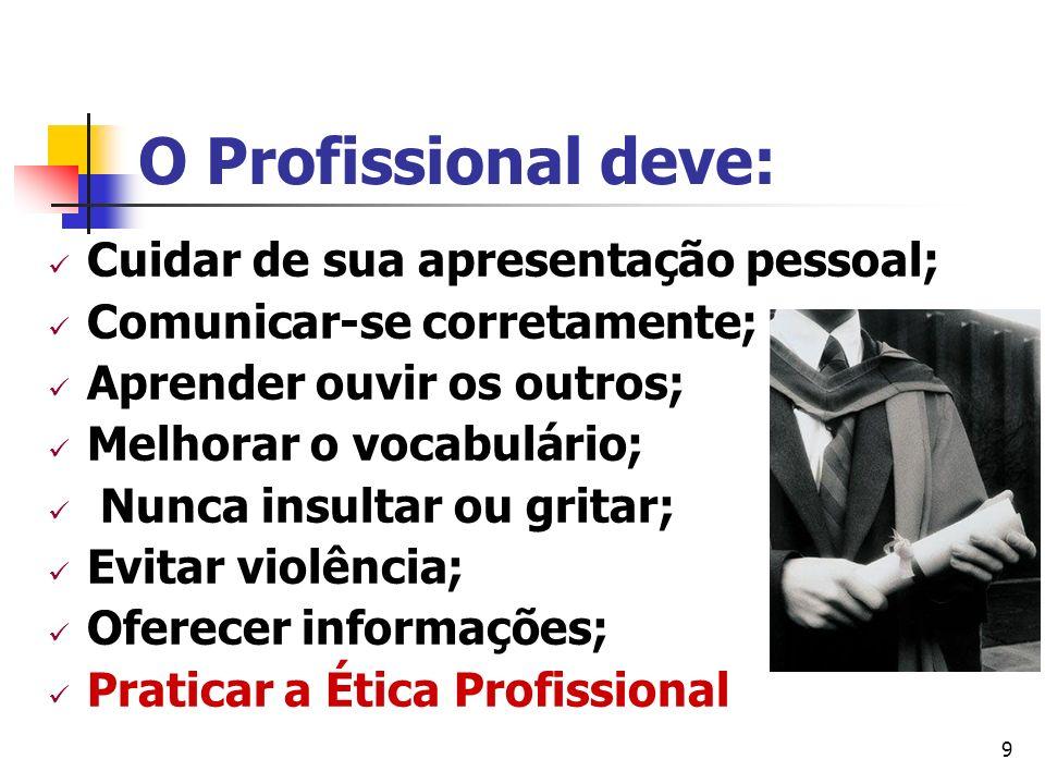 O Profissional deve: Cuidar de sua apresentação pessoal;