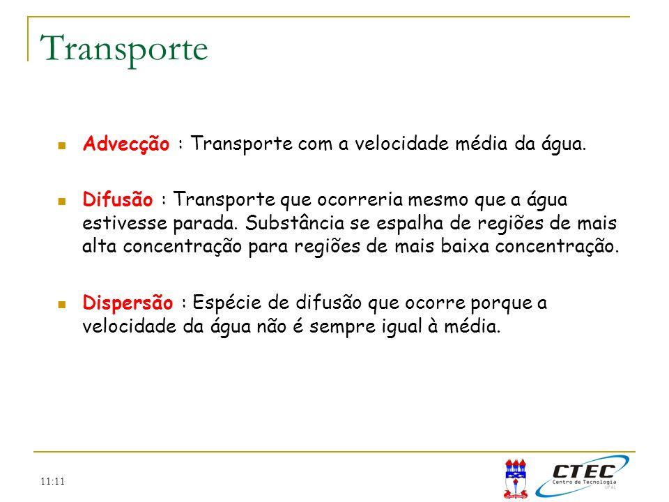 Transporte Advecção : Transporte com a velocidade média da água.