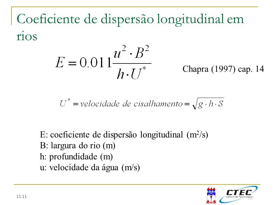Coeficiente de dispersão longitudinal em rios