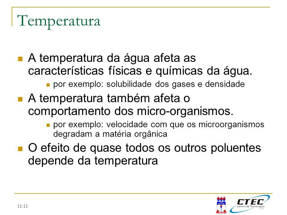 Temperatura A temperatura da água afeta as características físicas e químicas da água. por exemplo: solubilidade dos gases e densidade.