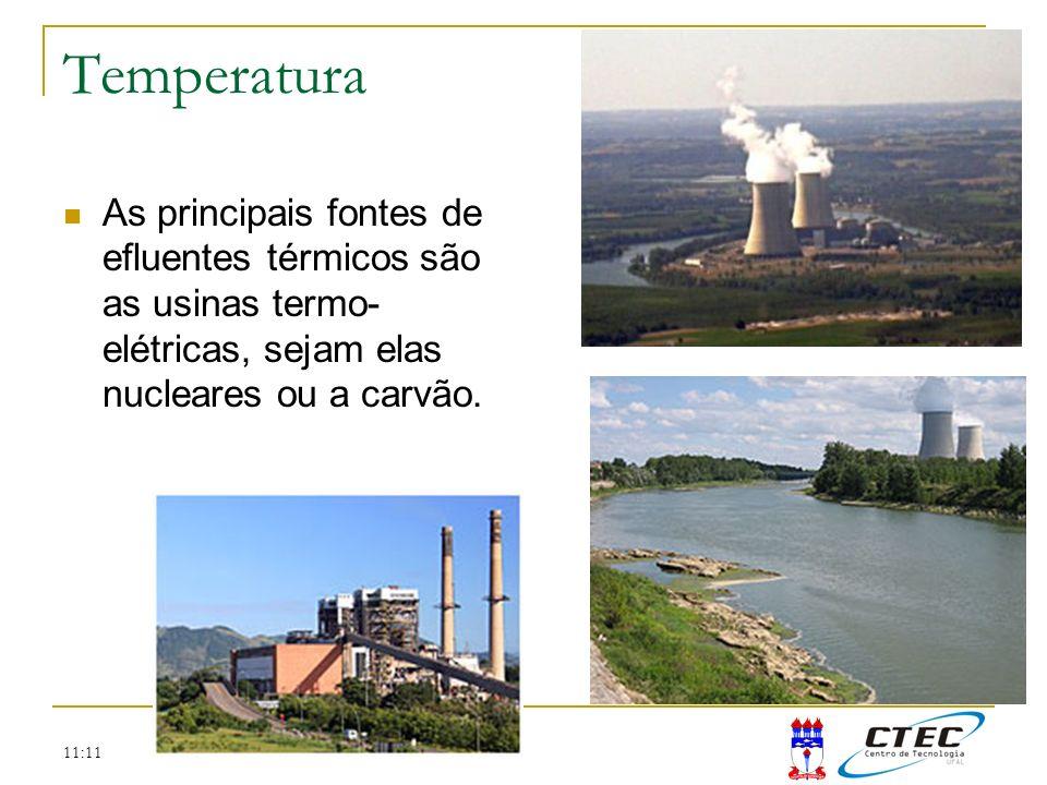 TemperaturaAs principais fontes de efluentes térmicos são as usinas termo-elétricas, sejam elas nucleares ou a carvão.