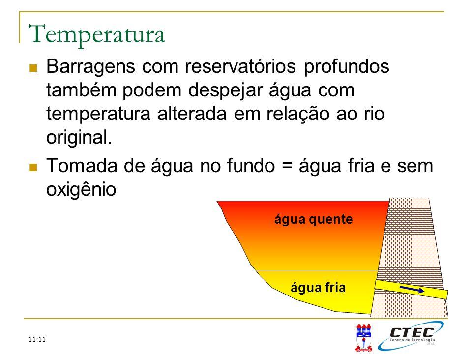 Temperatura Barragens com reservatórios profundos também podem despejar água com temperatura alterada em relação ao rio original.