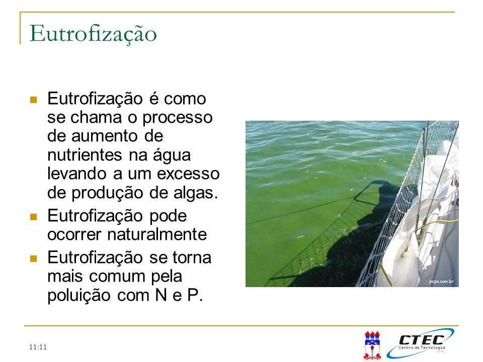 Eutrofização Eutrofização é como se chama o processo de aumento de nutrientes na água levando a um excesso de produção de algas.