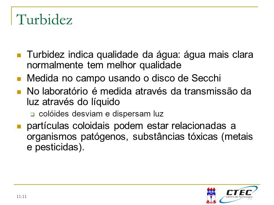 Turbidez Turbidez indica qualidade da água: água mais clara normalmente tem melhor qualidade. Medida no campo usando o disco de Secchi.