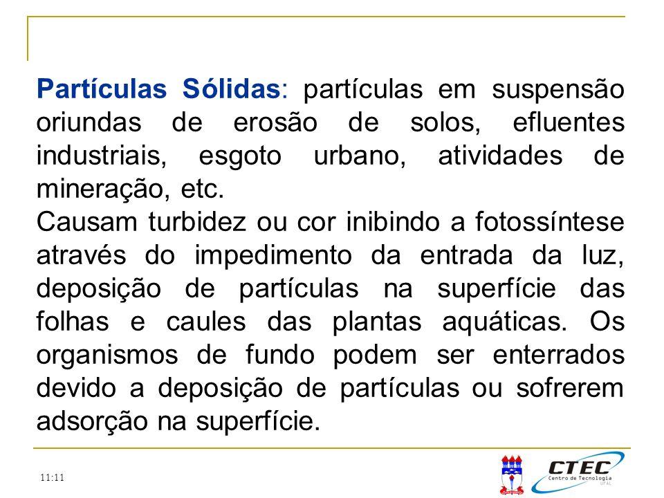 Partículas Sólidas: partículas em suspensão oriundas de erosão de solos, efluentes industriais, esgoto urbano, atividades de mineração, etc.