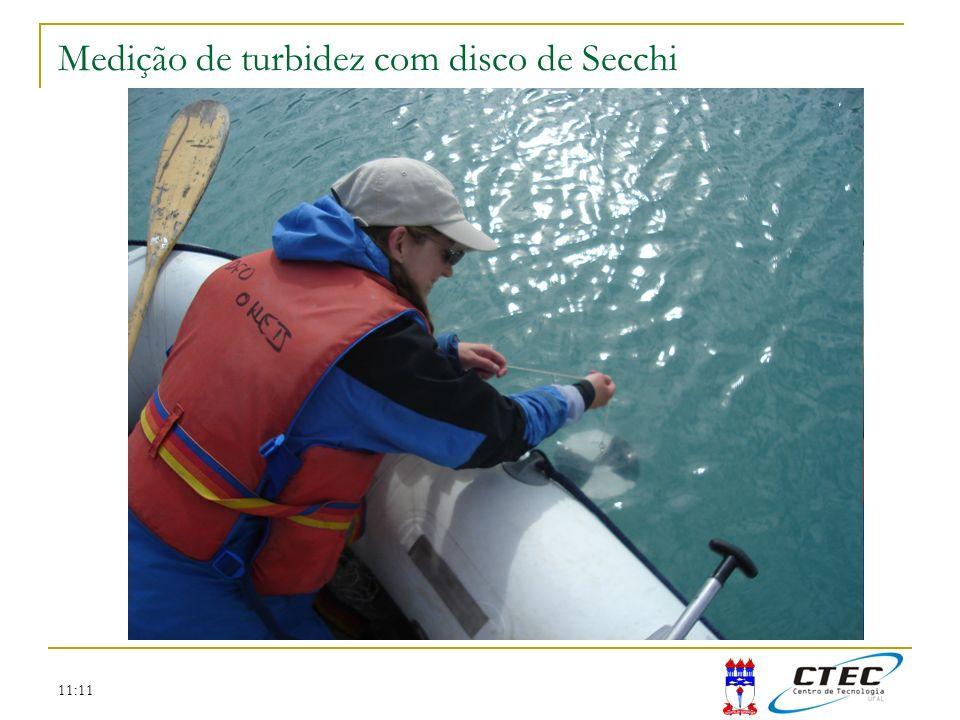 Medição de turbidez com disco de Secchi