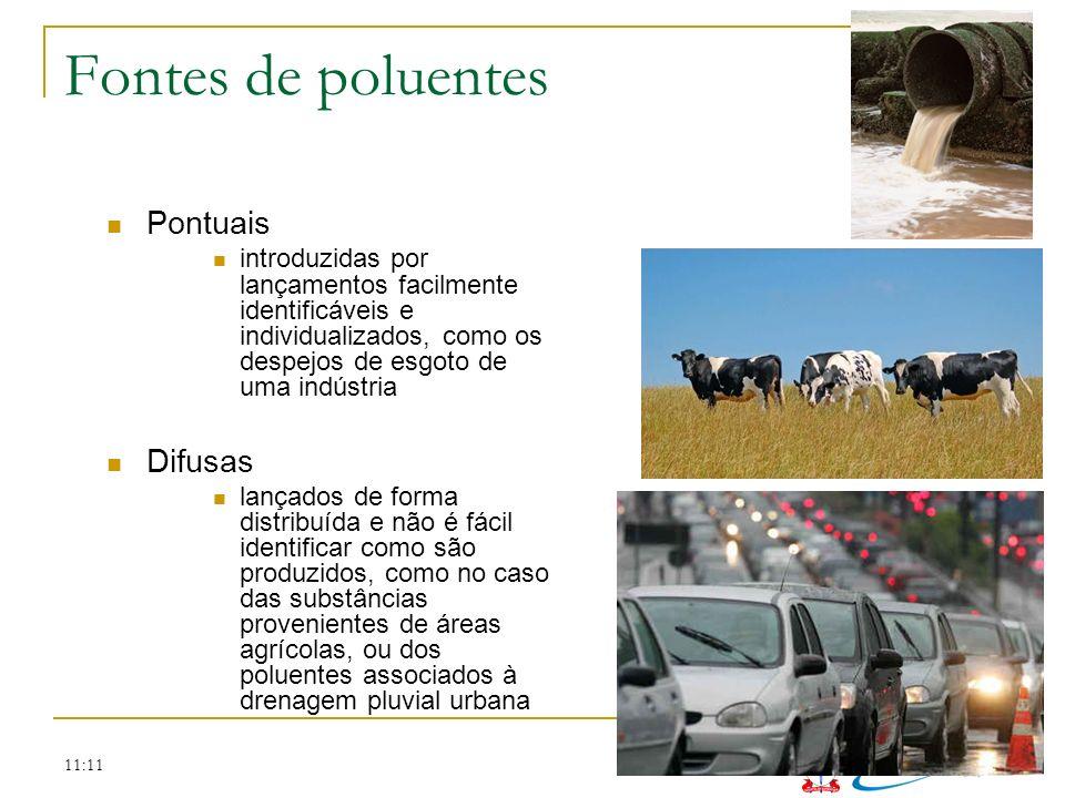 Fontes de poluentes Pontuais Difusas