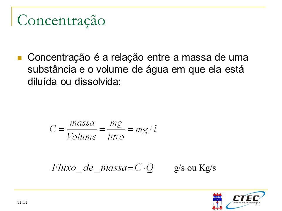 Concentração Concentração é a relação entre a massa de uma substância e o volume de água em que ela está diluída ou dissolvida: