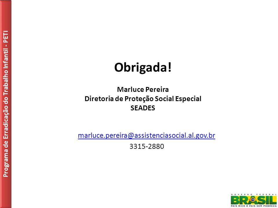 Obrigada! Marluce Pereira Diretoria de Proteção Social Especial SEADES