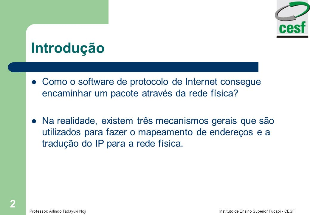 Introdução Como o software de protocolo de Internet consegue encaminhar um pacote através da rede física