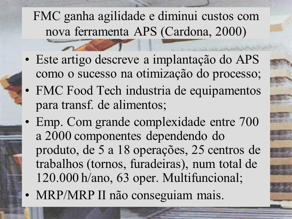 FMC ganha agilidade e diminui custos com nova ferramenta APS (Cardona, 2000)