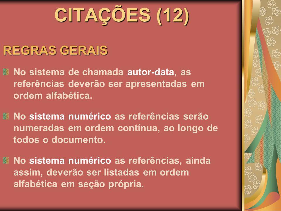 CITAÇÕES (12) REGRAS GERAIS