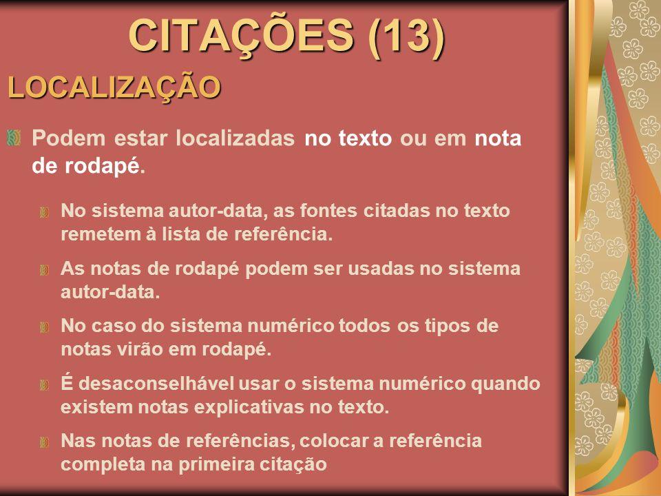CITAÇÕES (13) LOCALIZAÇÃO
