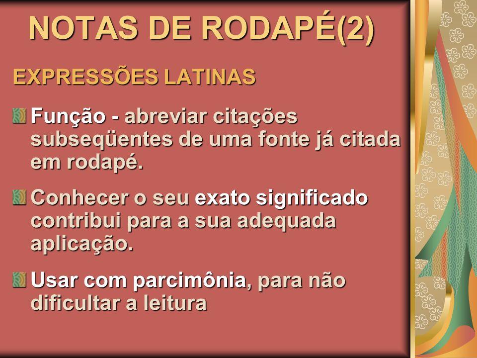NOTAS DE RODAPÉ(2) EXPRESSÕES LATINAS