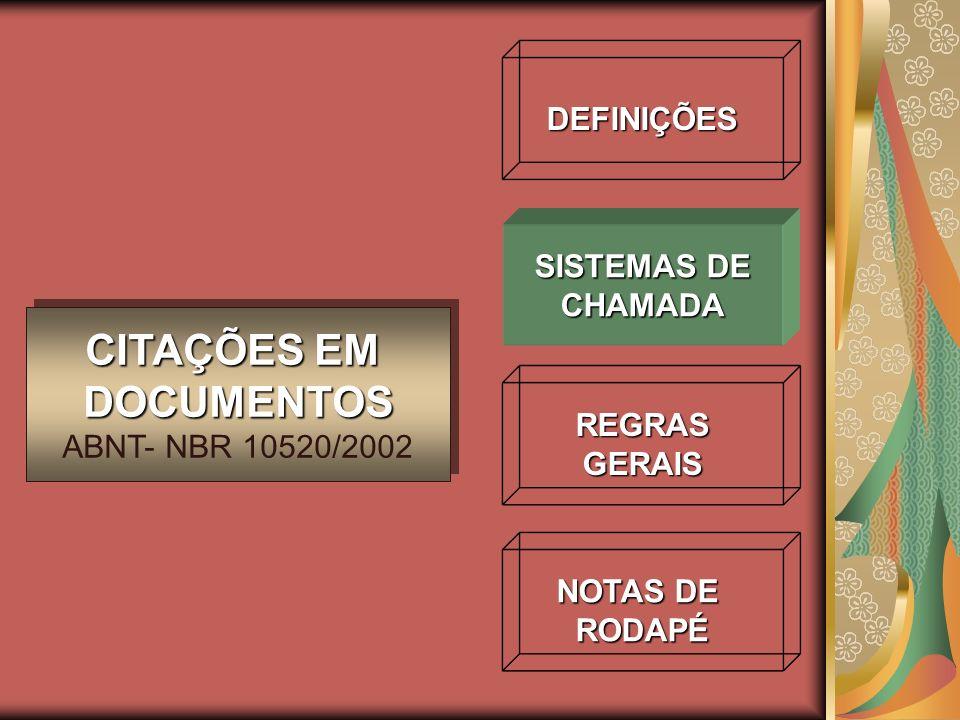 CITAÇÕES EM DOCUMENTOS