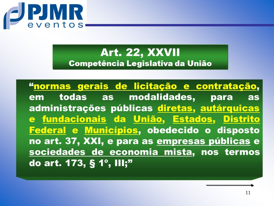 Art. 22, XXVII Competência Legislativa da União
