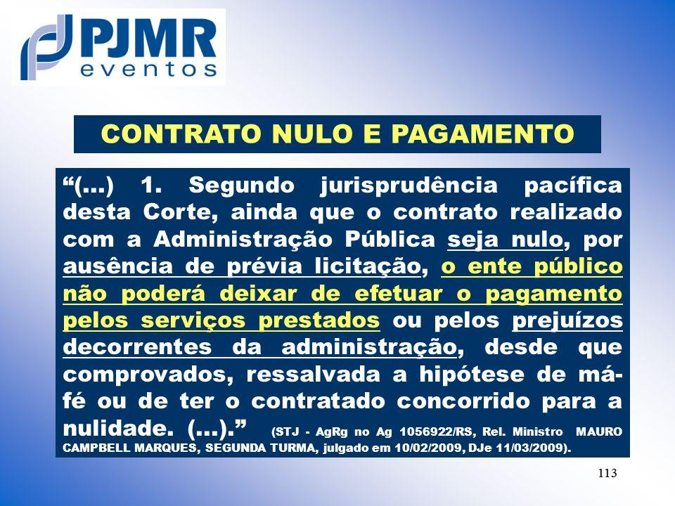 CONTRATO NULO E PAGAMENTO