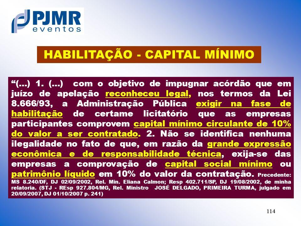 HABILITAÇÃO - CAPITAL MÍNIMO