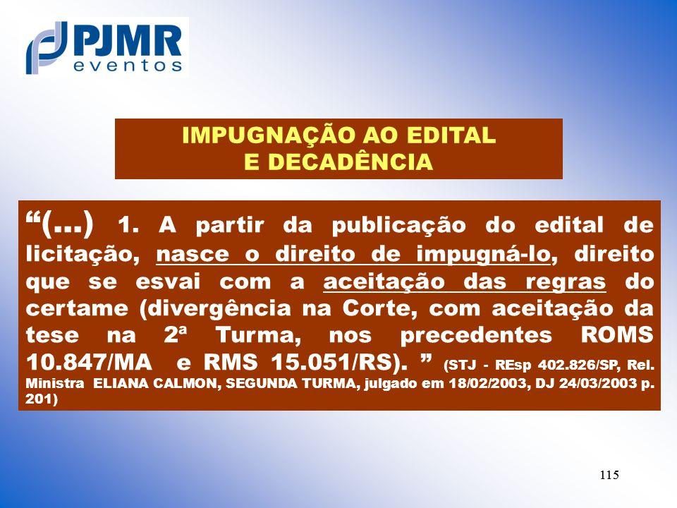 IMPUGNAÇÃO AO EDITAL E DECADÊNCIA