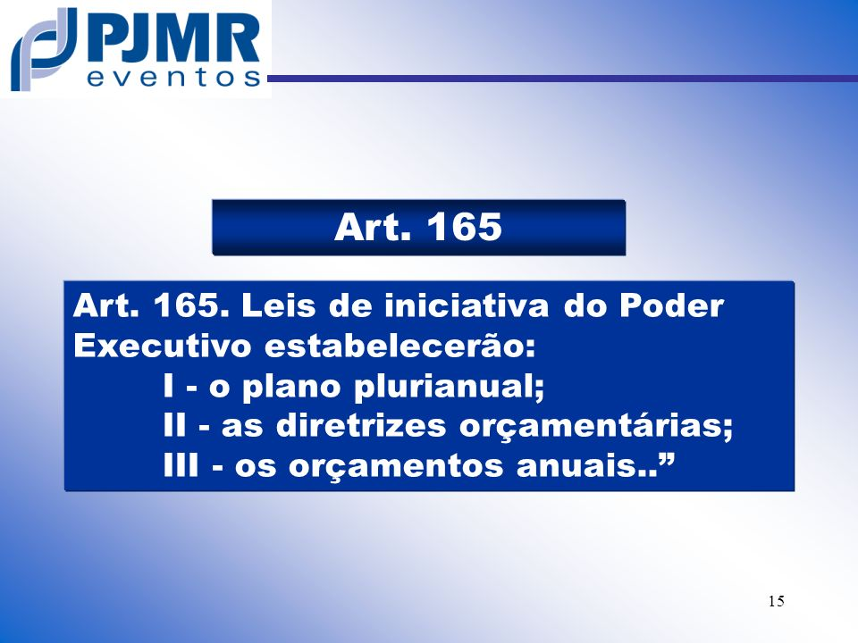 Art. 165 Art. 165. Leis de iniciativa do Poder Executivo estabelecerão: I - o plano plurianual;