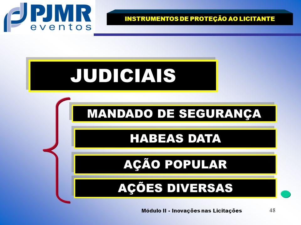 JUDICIAIS MANDADO DE SEGURANÇA HABEAS DATA AÇÃO POPULAR AÇÕES DIVERSAS