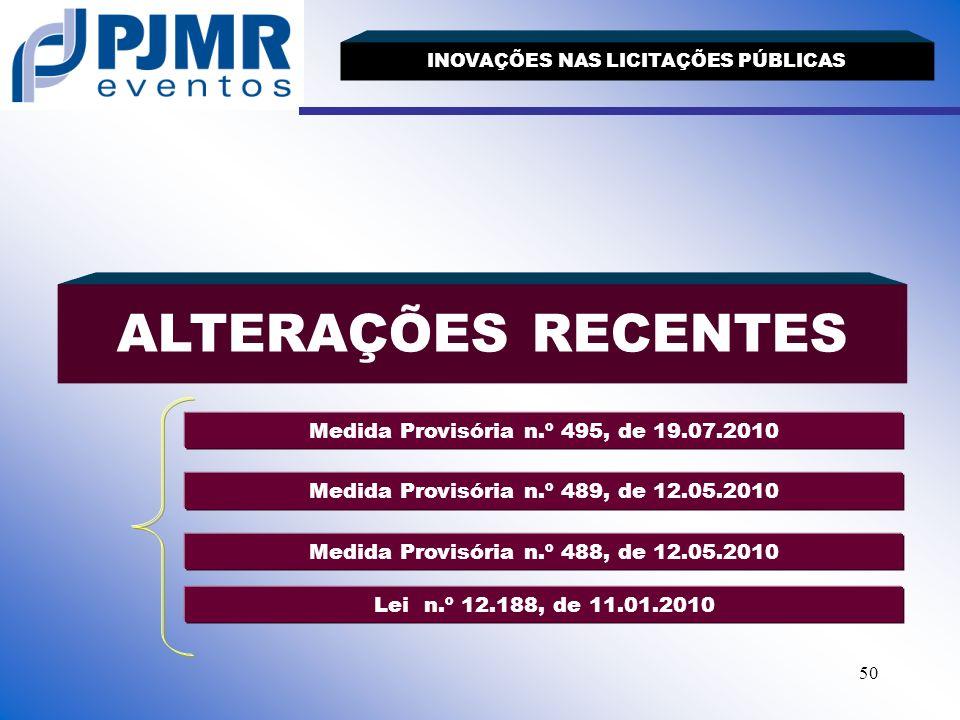 ALTERAÇÕES RECENTES Medida Provisória n.º 495, de 19.07.2010