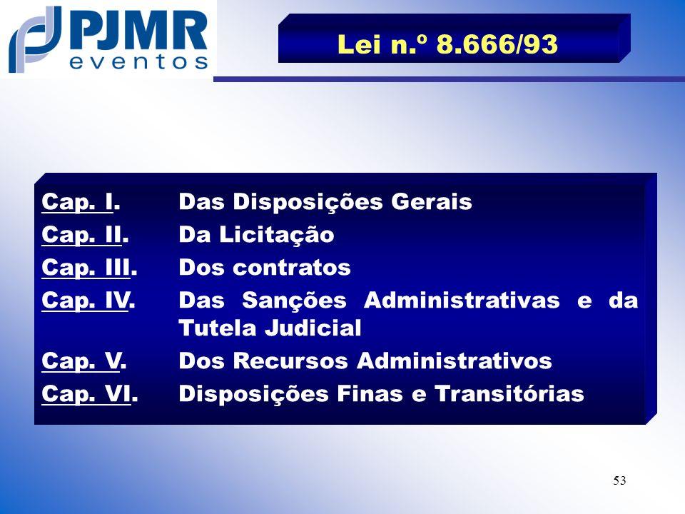 Lei n.º 8.666/93 Cap. I. Das Disposições Gerais Cap. II. Da Licitação