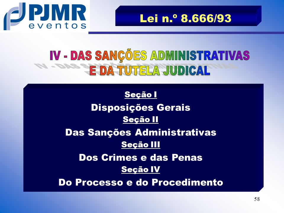Lei n.º 8.666/93 IV - DAS SANÇÕES ADMINISTRATIVAS E DA TUTELA JUDICAL