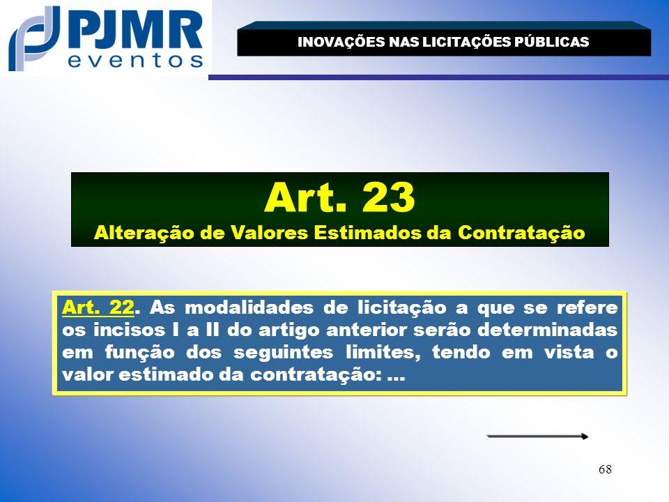 Art. 23 Alteração de Valores Estimados da Contratação