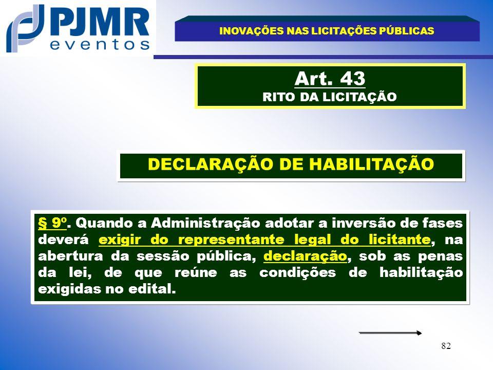 INOVAÇÕES NAS LICITAÇÕES PÚBLICAS DECLARAÇÃO DE HABILITAÇÃO