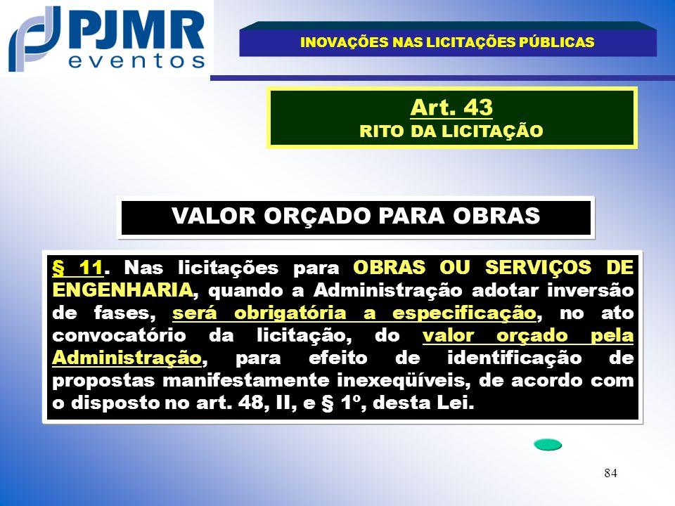 INOVAÇÕES NAS LICITAÇÕES PÚBLICAS VALOR ORÇADO PARA OBRAS