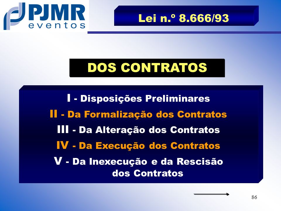 DOS CONTRATOS Lei n.º 8.666/93 I - Disposições Preliminares