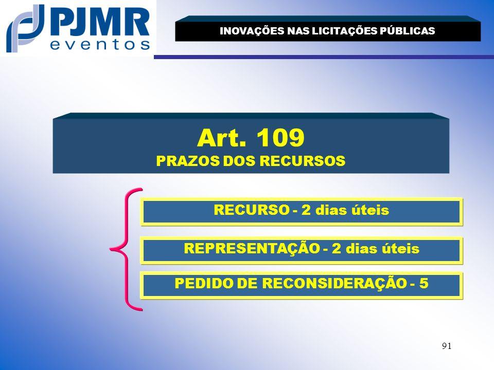 Art. 109 PRAZOS DOS RECURSOS RECURSO - 2 dias úteis
