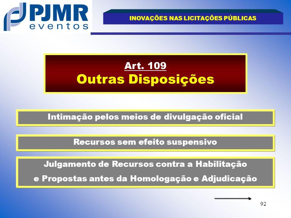 Art. 109 Outras Disposições